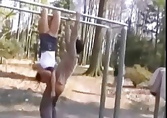 acrobatic teen gives..